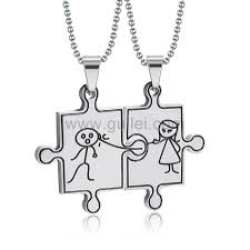 puzzle necklace images Engraved jigsaw puzzle funny necklaces for boyfriend and jpg