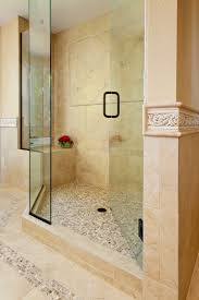brown glass tiled wall panel for shower room with unframe glass simple shower decor with glass mosaic wall panel accent combined with