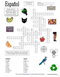 spanish colors crossword puzzle and image ids los colores