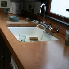 undermount sink concrete countertop agreeable brown color kitchen concrete countertops features white