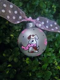 snowman and puppy ornament painted and