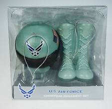 us air force holiday ornament set wings boots helmet military