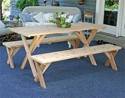 Backyard Picnic Ideas Cedar Picnic Table With Detached Benches Picnic Table