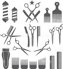 barber tools for haircut black and white vector icon set stock