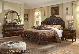 Leather Tufted Headboard Lavelle Melange Luxury King Bedroom Furniture Set Leather Tufted