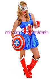 Captain America Halloween Costumes J62 Ladies Captain America Super Hero Woman Fancy Dress Halloween