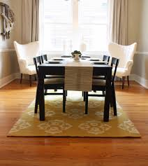 Dining Room  Classy Dining Room Design With Yellow Pattern Dining - Area rug dining room