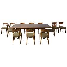 fine french art deco dining set by leleu large table and 12