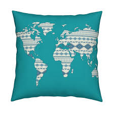 Accurate World Map by Tribal World Map In Turquoise Large Fabric Alchemyhome