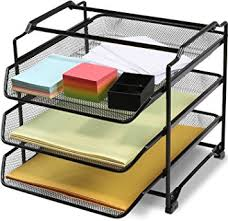 Yellow Desk Organizer Amazon Com Decobros Stackable 3 Tier Desk Document Letter Tray