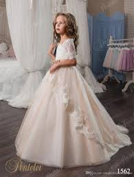 kids wedding dresses 2017 pentelei with illusion long sleeves and