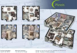 plan de maison a etage 5 chambres plan maison 5 chambres avec etage 3d