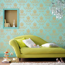 stylish living room stylish living room with blue damask wallpaper and lime green