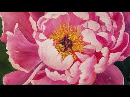 peony flower floral acrylic painting tutorial peony blossom flower live