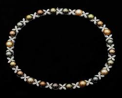 pearl necklace with diamond images South sea and diamond pearl necklace pearl clasp jpg