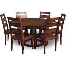mango 6 piece 60 inch round dining set with lazy susan mendocino