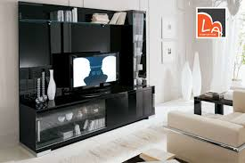 contemporary black entertainment center with glass doors decofurnish