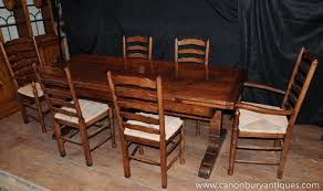 Farmhouse Kitchen Furniture by Farmhouse Kitchen Dining Set Refectory Table Set Ladderback Chairs