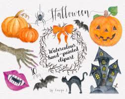 hand painted pumpkin halloween clipart halloween party clipart halloween clip art watercolor