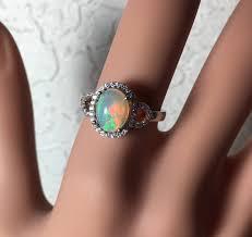 opal october halo design 9x7mm silver opal ring fire opal opal ring silver