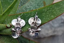 orchid flowers orchid flowers silver earrings designed by nature