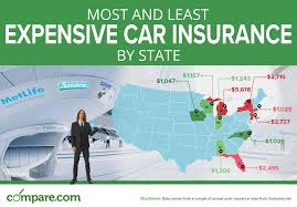 Most And Least Expensive States For Car Insurance Compare Com