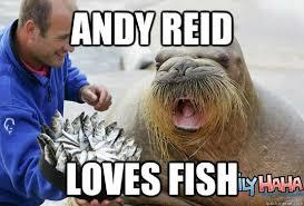 Andy Reid Meme - andy reid loves fish reid walrus fish quickmeme