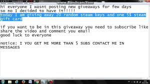 10 steam gift card 5 steam gift card and 20 random steam giveaway