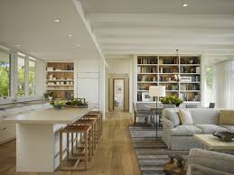 contemporary kitchen with family room feat white stools and carpet