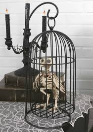 Halloween Posable Skeleton Skeleton Bird In Cage