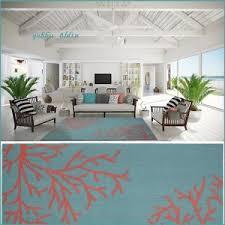 Teal Living Room Rug Tropical Coral Teal Area Rug Carpet Coastal Beach Ocean Sea Modern