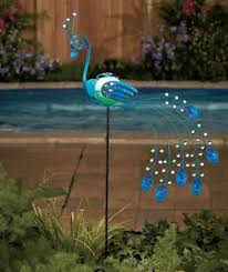 new solar peacock metal bird lawn yard garden outdoor home decor