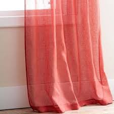 Sheer Coral Curtains Orange Coral Sheer Curtain Scarf Image 1 Coral Sheer Curtains