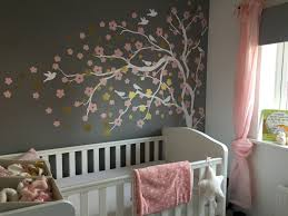 Nursery Tree Stickers For Walls Baby Girl Grey Pink White Gold Nursery Blossom Tree Wall Sticker