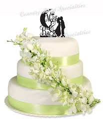 christian wedding cake toppers silhouette to the moon back groom acrylic wedding