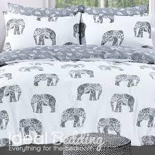 grey elephant print duvet set and pillowcase bedding set duvet
