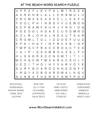at the beach printable word search puzzle