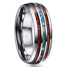 titanium tungsten rings images Vakki 8mm hawaiian koa wood and abalone shell tungsten carbide jpg