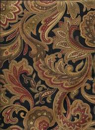 Black And Gold Curtain Fabric Large Damask Or Medallion Pattern With Black Brown Gold And