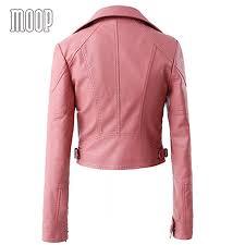 pink motorcycle jacket online shop pink black pu leather jackets women short motorcycle