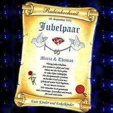 geschenk zum 40 hochzeitstag rubinhochzeit rubin hochzeit 40 hochzeitstag geschenk urkunde