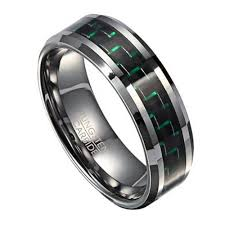 men tungsten rings images 8mm men 39 s tungsten ring with green carbon fiber jpg