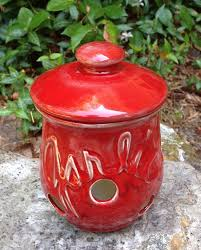 red garlic keeper pot kitchen storage canister oxblood red