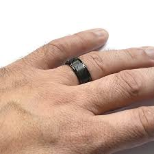 black mens wedding ring black ion plated tungsten wedding band w diagonal grooves