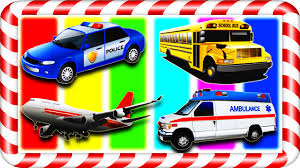 bus police car ambulance airplane vehicles for kids
