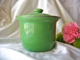 antique crock china green with lid hall pottery by cynthiasattic
