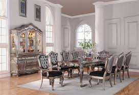 Silver Dining Tables Chantelle Collection Antique Platinum Finish Formal 7 Dining