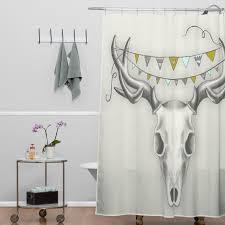 Skull Shower Curtain Hooks Deny Designs Wesley Bird Skull Shower Curtain U0026 Reviews Wayfair