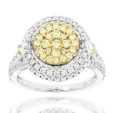 diamonds rings images Unique cluster rings white yellow diamonds ring for women 14k jpg