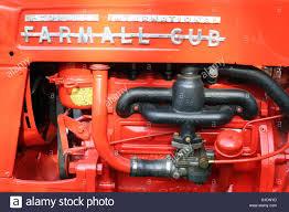 vintage red tractor mc cormick farmall cub servoz france stock